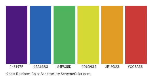 King's Rainbow - Color scheme palette thumbnail - #4e197f #2a63b3 #4fb35d #d6d934 #e19d23 #cc3a38