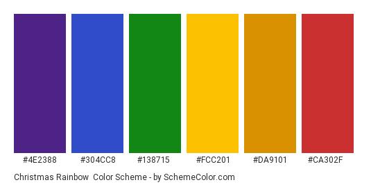 Christmas Rainbow - Color scheme palette thumbnail - #4e2388 #304cc8 #138715 #fcc201 #da9101 #ca302f
