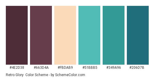 Retro Glory - Color scheme palette thumbnail - #4e2d38 #663d4a #fbdab9 #51bbb5 #349a96 #206d7b