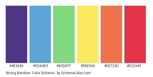 Strong Rainbow - Color scheme palette thumbnail - #4e3686 #5da4d9 #80d87f #fbe960 #ee724c #e23349