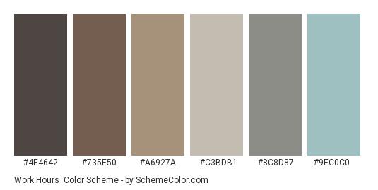 Work Hours - Color scheme palette thumbnail - #4e4642 #735e50 #a6927a #c3bdb1 #8c8d87 #9ec0c0