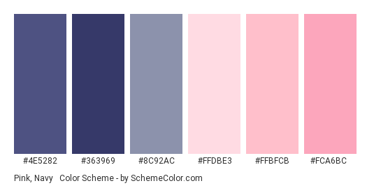 Pink, Navy & Grey - Color scheme palette thumbnail - #4e5282 #363969 #8c92ac #ffdbe3 #ffbfcb #fca6bc