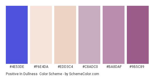 Positive in Dullness - Color scheme palette thumbnail - #4e53de #f6e4da #edd3c4 #c8adc0 #ba8daf #9b5c89