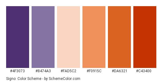 Signo - Color scheme palette thumbnail - #4f3073 #8474a3 #fad5c2 #f0915c #da6321 #c43400