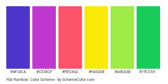 Flat Rainbow - Color scheme palette thumbnail - #4f34ca #c038cf #fb536a #faea08 #a0ea48 #19cc59