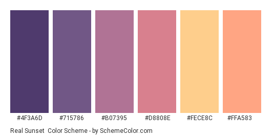 Real Sunset - Color scheme palette thumbnail - #4f3a6d #715786 #b07395 #d8808e #fece8c #ffa583