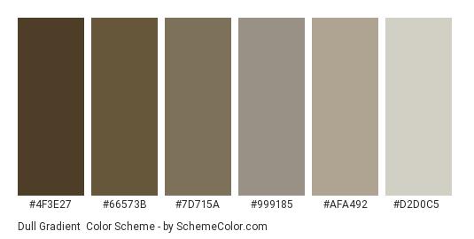 Dull Gradient - Color scheme palette thumbnail - #4f3e27 #66573b #7d715a #999185 #afa492 #d2d0c5