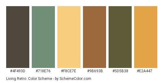 Living Retro - Color scheme palette thumbnail - #4f493d #718e76 #f8ce7e #9b693b #5d5b38 #e2a447
