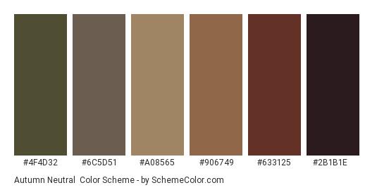 Autumn Neutral - Color scheme palette thumbnail - #4f4d32 #6c5d51 #a08565 #906749 #633125 #2b1b1e