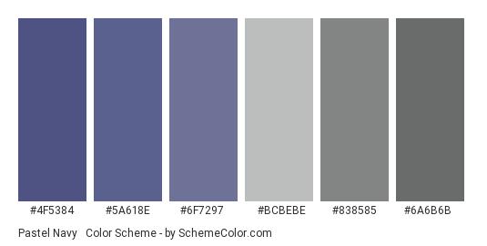 Pastel Navy & Dull Gray - Color scheme palette thumbnail - #4f5384 #5a618e #6f7297 #bcbebe #838585 #6a6b6b