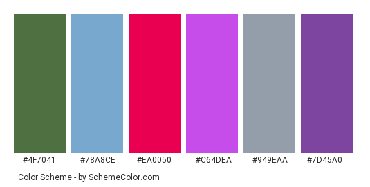 Blueberries Summer Fruit - Color scheme palette thumbnail - #4f7041 #78a8ce #ea0050 #c64dea #949eaa #7d45a0