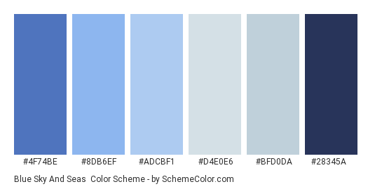 Blue Sky and Seas - Color scheme palette thumbnail - #4f74be #8db6ef #adcbf1 #d4e0e6 #bfd0da #28345a