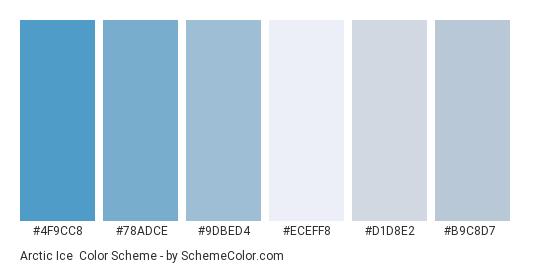 Arctic Ice - Color scheme palette thumbnail - #4f9cc8 #78adce #9dbed4 #eceff8 #d1d8e2 #b9c8d7