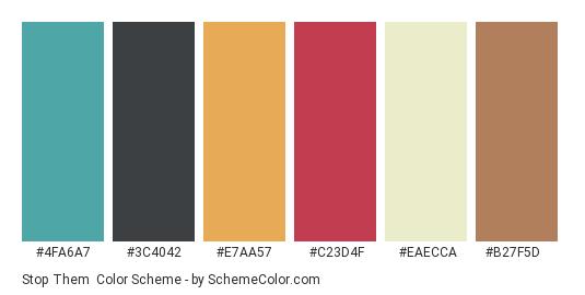 Stop Them - Color scheme palette thumbnail - #4fa6a7 #3c4042 #e7aa57 #c23d4f #eaecca #b27f5d