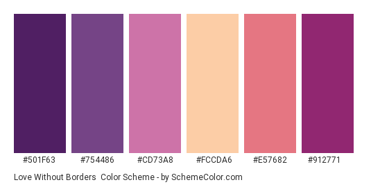 Love Without Borders - Color scheme palette thumbnail - #501f63 #754486 #cd73a8 #fccda6 #e57682 #912771
