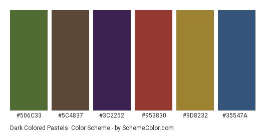Dark Colored Pastels - Color scheme palette thumbnail - #506c33 #5c4837 #3c2252 #953830 #9d8232 #35547a