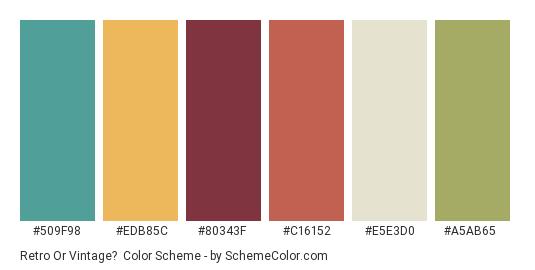 Retro or Vintage? - Color scheme palette thumbnail - #509f98 #edb85c #80343f #c16152 #e5e3d0 #a5ab65