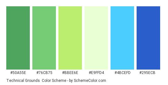 Technical Grounds - Color scheme palette thumbnail - #50A55E #76CB75 #BBEE6E #E9FFD4 #4BCEFD #295ECB
