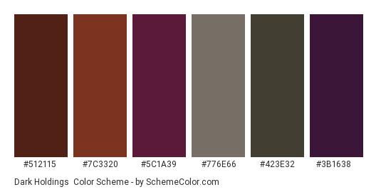 Dark Holdings - Color scheme palette thumbnail - #512115 #7c3320 #5c1a39 #776e66 #423e32 #3b1638