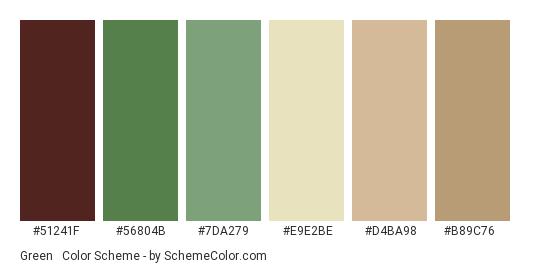 Green & Brown Classic - Color scheme palette thumbnail - #51241f #56804b #7da279 #e9e2be #d4ba98 #b89c76