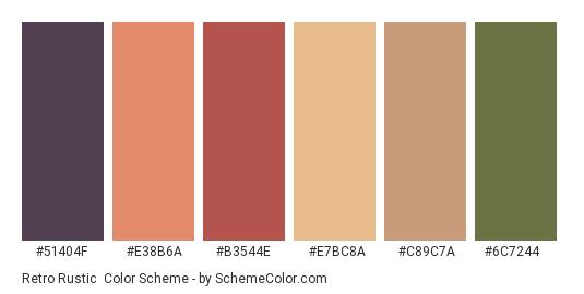 Retro Rustic - Color scheme palette thumbnail - #51404f #e38b6a #b3544e #e7bc8a #c89c7a #6c7244