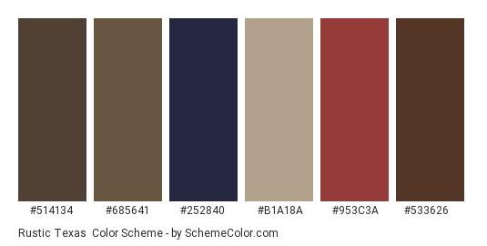Rustic Texas - Color scheme palette thumbnail - #514134 #685641 #252840 #b1a18a #953c3a #533626