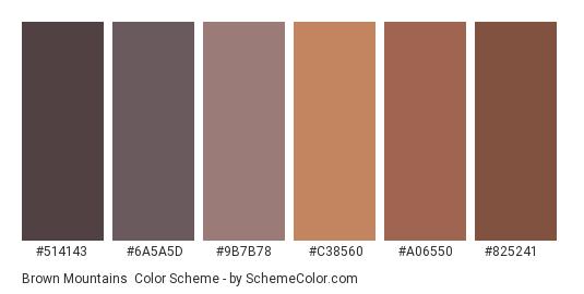 Brown Mountains - Color scheme palette thumbnail - #514143 #6a5a5d #9b7b78 #c38560 #a06550 #825241