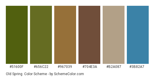 Old Spring - Color scheme palette thumbnail - #51600f #656c22 #967039 #704e3a #b2a087 #3b82a7