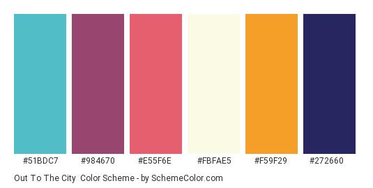 Out To the City - Color scheme palette thumbnail - #51bdc7 #984670 #e55f6e #fbfae5 #f59f29 #272660