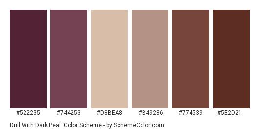 Dull with Dark Peal - Color scheme palette thumbnail - #522235 #744253 #d8bea8 #b49286 #774539 #5e2d21
