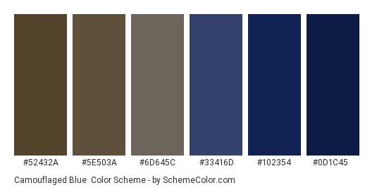 Camouflaged Blue - Color scheme palette thumbnail - #52432a #5e503a #6d645c #33416d #102354 #0d1c45