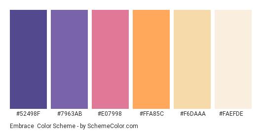 Embrace - Color scheme palette thumbnail - #52498F #7963AB #E07998 #FFA85C #F6DAAA #FAEFDE
