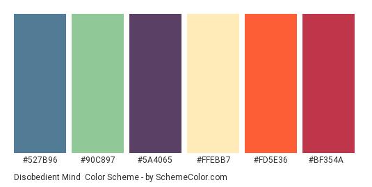 Disobedient Mind - Color scheme palette thumbnail - #527b96 #90c897 #5a4065 #ffebb7 #fd5e36 #bf354a