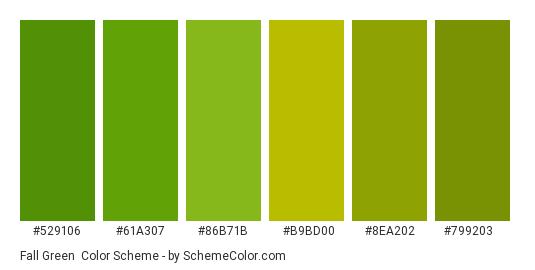Fall Green - Color scheme palette thumbnail - #529106 #61a307 #86b71b #b9bd00 #8ea202 #799203