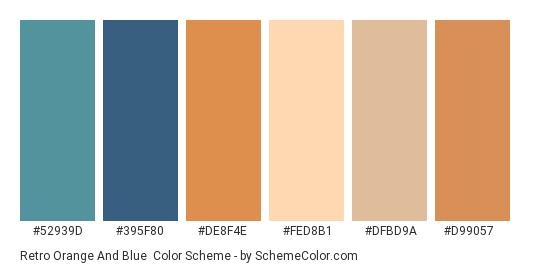 Retro Orange and Blue - Color scheme palette thumbnail - #52939d #395f80 #de8f4e #fed8b1 #dfbd9a #d99057