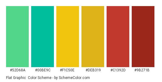 Flat Graphic - Color scheme palette thumbnail - #52D68A #00BE9C #F1C50E #DEB319 #C1392D #9B271B