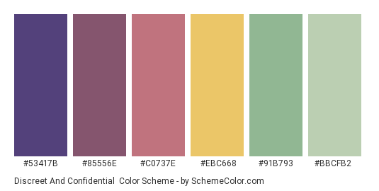 Discreet and Confidential - Color scheme palette thumbnail - #53417b #85556e #c0737e #ebc668 #91b793 #bbcfb2
