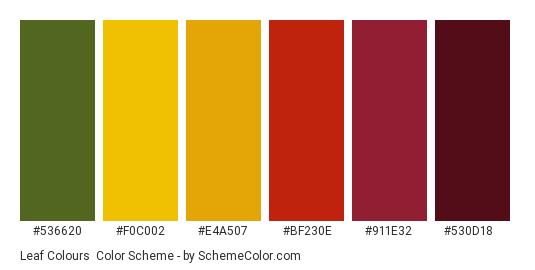 Leaf Colours - Color scheme palette thumbnail - #536620 #f0c002 #e4a507 #bf230e #911e32 #530d18