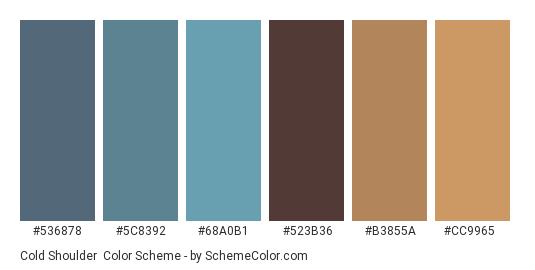 Cold Shoulder - Color scheme palette thumbnail - #536878 #5C8392 #68A0B1 #523B36 #B3855A #CC9965