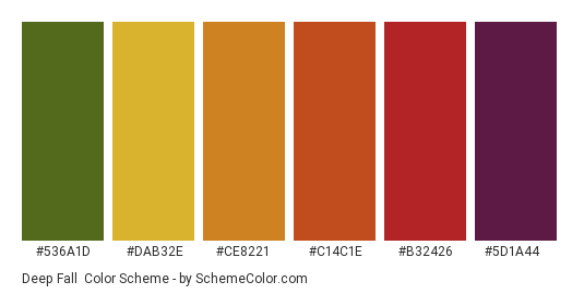 Deep Fall - Color scheme palette thumbnail - #536a1d #dab32e #ce8221 #c14c1e #b32426 #5d1a44