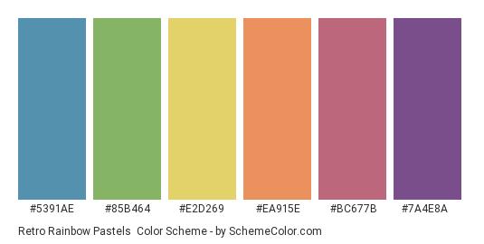 Retro Rainbow Pastels - Color scheme palette thumbnail - #5391ae #85b464 #e2d269 #ea915e #bc677b #7a4e8a
