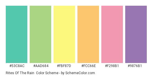 Rites of the Rain - Color scheme palette thumbnail - #53c8ac #aad684 #fbf87d #fcc66e #f298b1 #9876b1