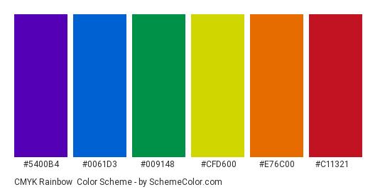 CMYK Rainbow - Color scheme palette thumbnail - #5400b4 #0061d3 #009148 #cfd600 #e76c00 #c11321