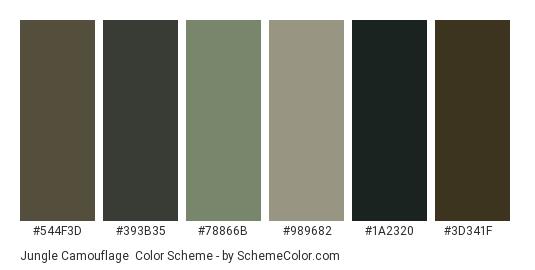 Jungle Camouflage - Color scheme palette thumbnail - #544f3d #393b35 #78866b #989682 #1a2320 #3d341f