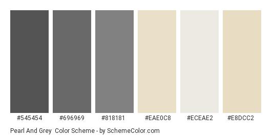 Pearl and Grey - Color scheme palette thumbnail - #545454 #696969 #818181 #eae0c8 #eceae2 #e8dcc2