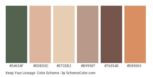 Keep Your Lineage - Color scheme palette thumbnail - #54634f #ddb59c #e7ceb2 #b99987 #76554d #d89063