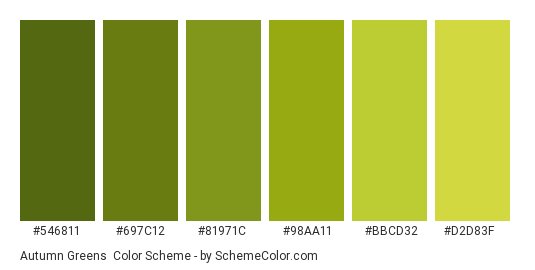 Autumn Greens - Color scheme palette thumbnail - #546811 #697c12 #81971c #98aa11 #bbcd32 #d2d83f