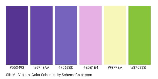 Gift Me Violets - Color scheme palette thumbnail - #553492 #6748aa #7563bd #e5b1e4 #f8f7ba #87c33b