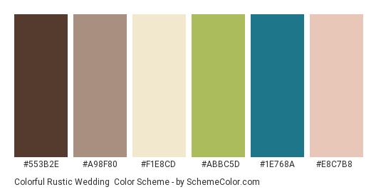 Colorful Rustic Wedding - Color scheme palette thumbnail - #553b2e #a98f80 #f1e8cd #abbc5d #1e768a #e8c7b8