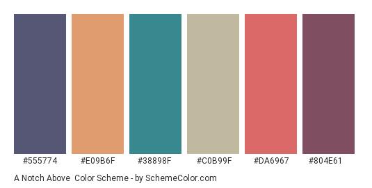 A Notch Above - Color scheme palette thumbnail - #555774 #e09b6f #38898f #c0b99f #da6967 #804e61
